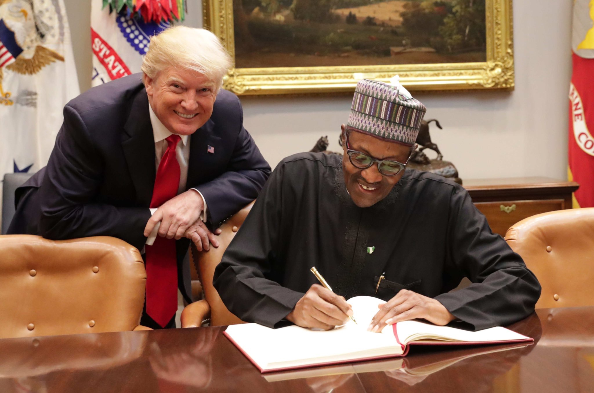 """Right In Front Of Donald Trump President Buhari Was Asked About His Alleged """"Sh*thole"""" Comment And He Says …"""